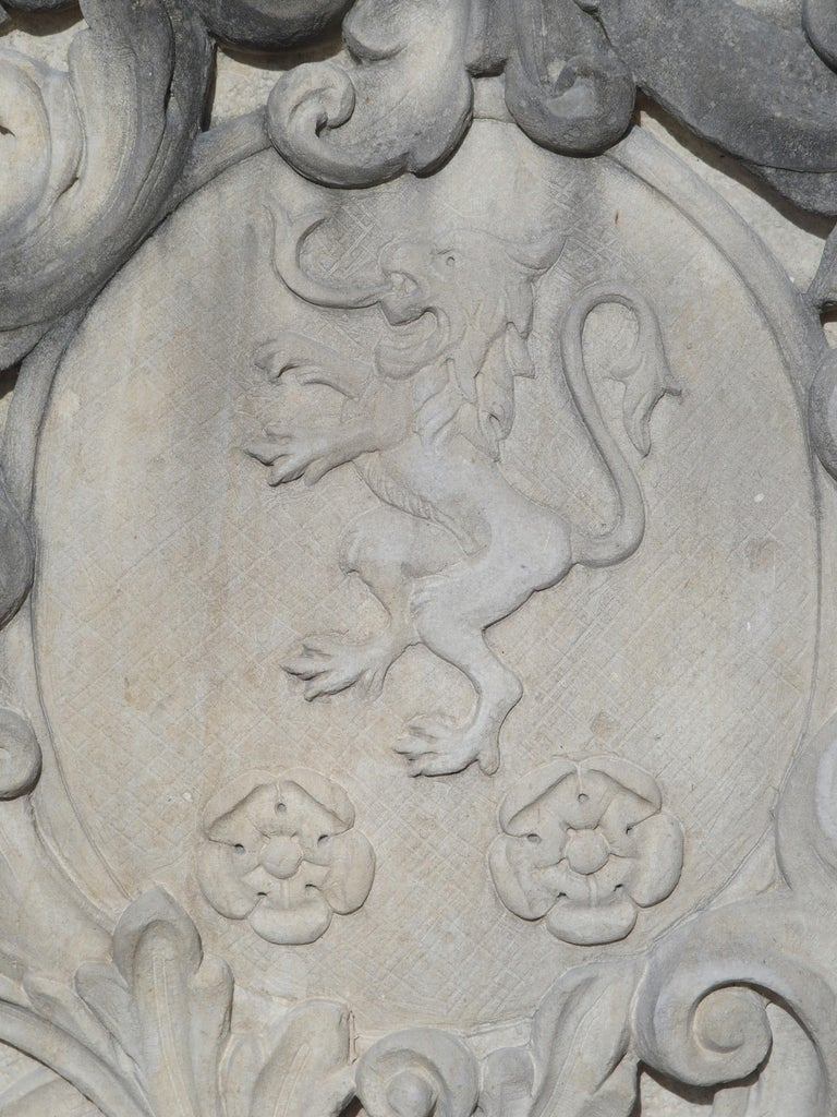 Carved Italian Limestone Plaque with Rampant Lion For Sale 1