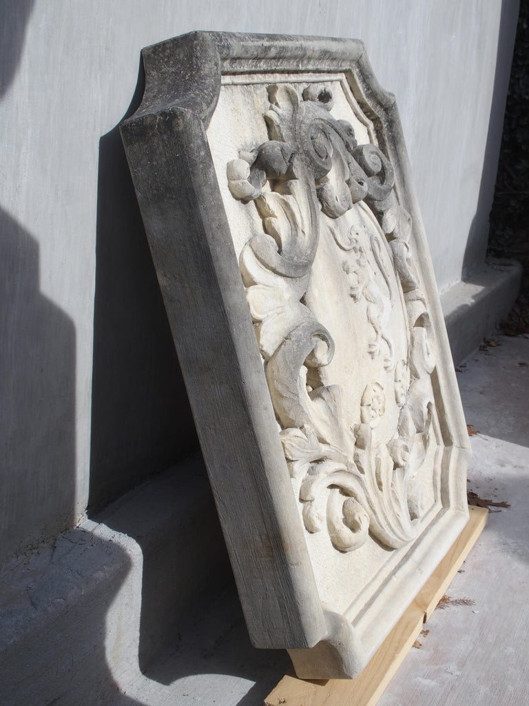 Carved Italian Limestone Plaque with Rampant Lion For Sale 3