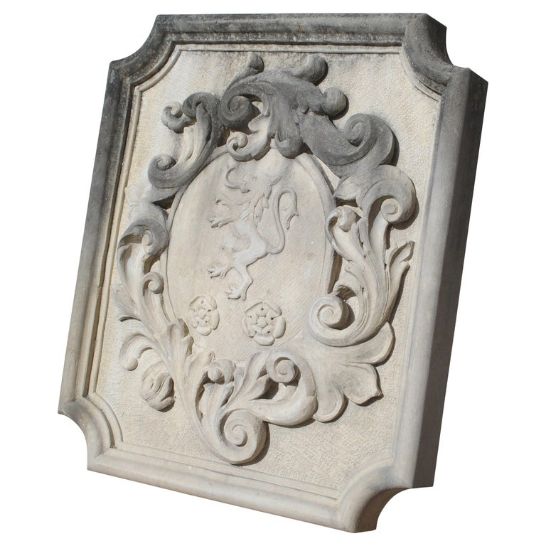 Carved Italian Limestone Plaque with Rampant Lion For Sale