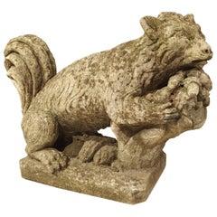 Carved Italian Limestone Squirrel Statue, 20th Century