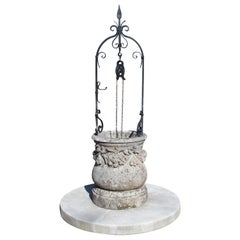 Carved Italian Limestone Well with Iron Overthrow