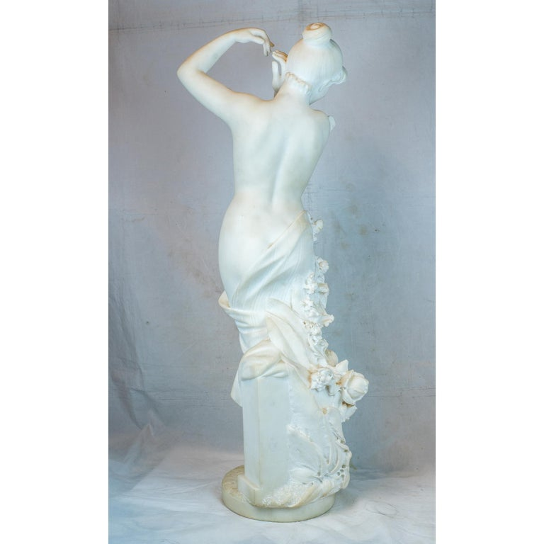 Carved Italian Marble Statue Entitled 'Allegory of Spring' by Pietro Barzanti In Good Condition For Sale In New York, NY