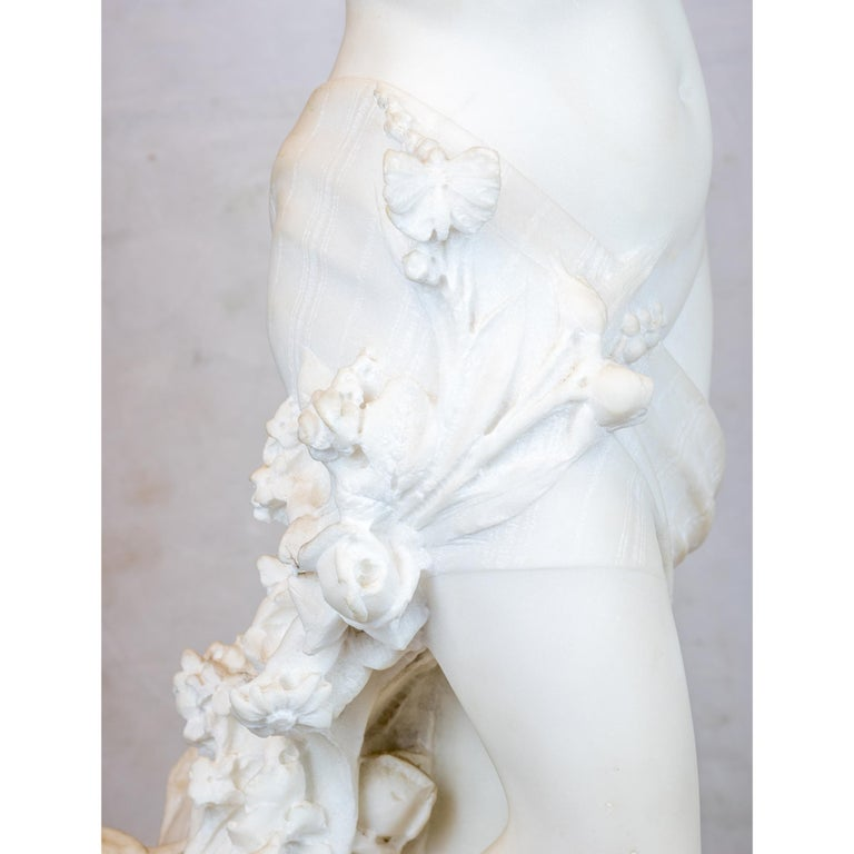 Carved Italian Marble Statue Entitled 'Allegory of Spring' by Pietro Barzanti For Sale 1