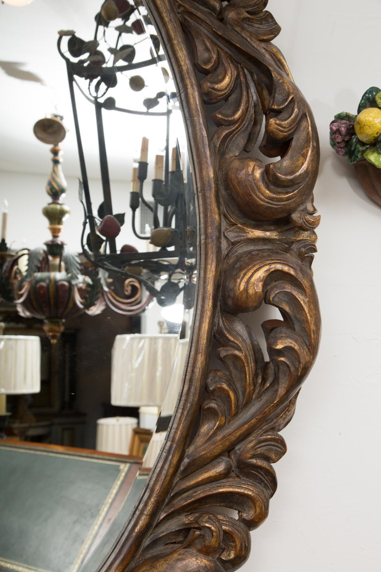 Carved Italian Oval Burnished Pine Mirror For Sale 1