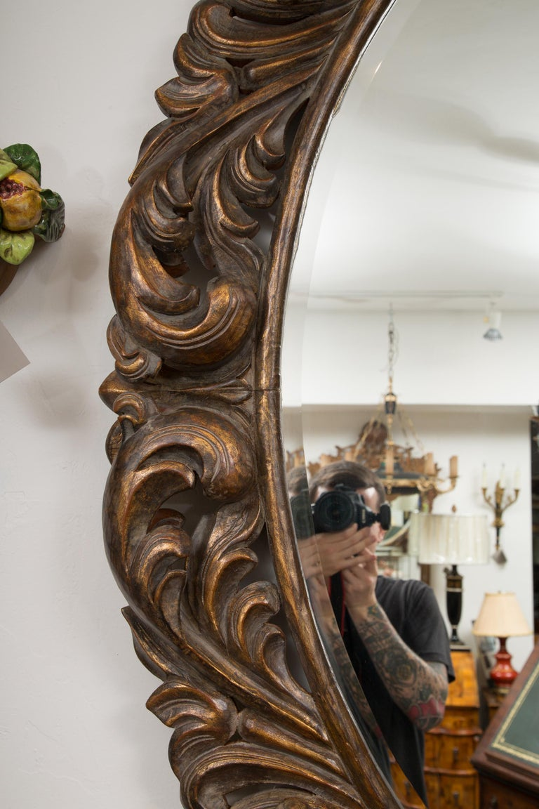 Carved Italian Oval Burnished Pine Mirror For Sale 2