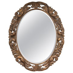 Carved Italian Oval Burnished Pine Mirror
