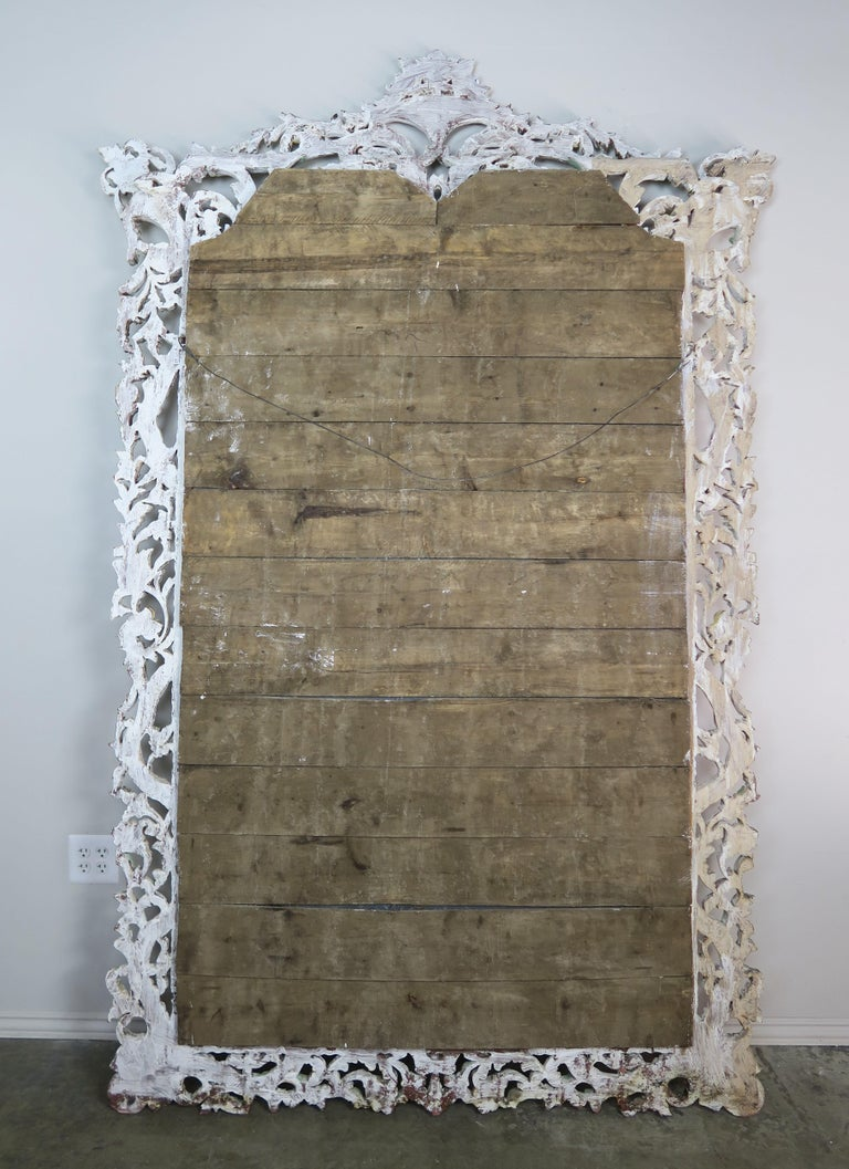 Carved Italian Rococo Style Painted Mirror, circa 1930s For Sale 9
