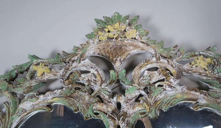 Carved Italian Rococo Style Painted Mirror, circa 1930s In Distressed Condition For Sale In Los Angeles, CA