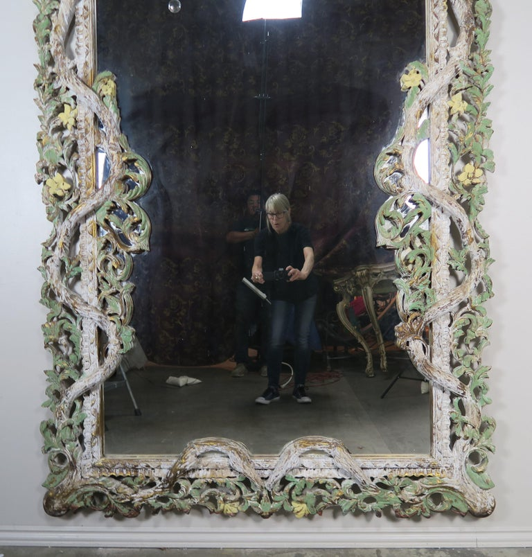 Carved Italian Rococo Style Painted Mirror, circa 1930s For Sale 3