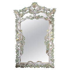 Carved Italian Rococo Style Painted Mirror, circa 1930s
