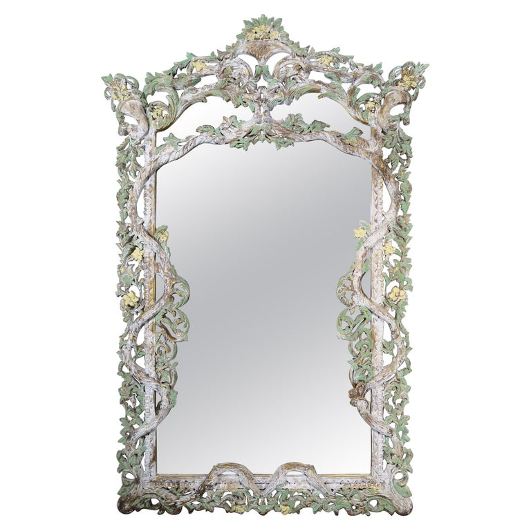 Carved Italian Rococo Style Painted Mirror, circa 1930s For Sale