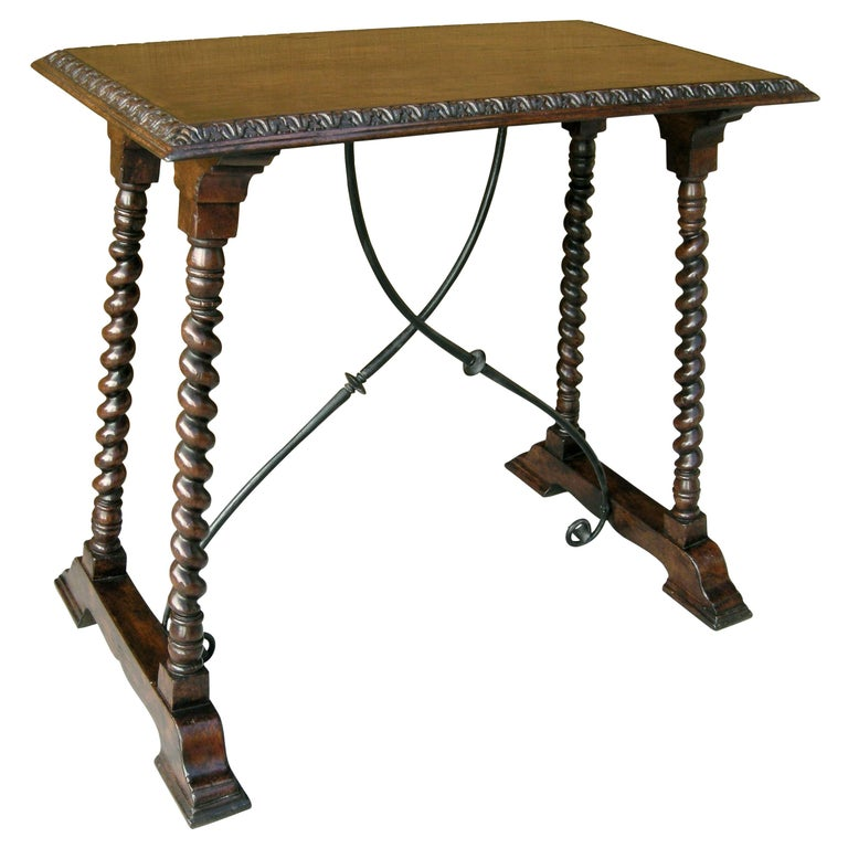 Carved Italian Walnut and Wrought Iron Sorrento Side Table by Randy Esada For Sale