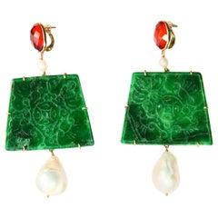 Carved Jade 18 Karat Gold Dangle Amber Earrings Baroque Pearls