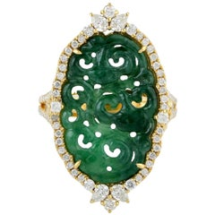 Carved Jade 18 Karat Gold Diamond Ring
