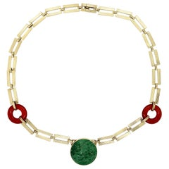 Carved Jade and Carnelian Retro Gold Collar Necklace Estate Fine Jewelry