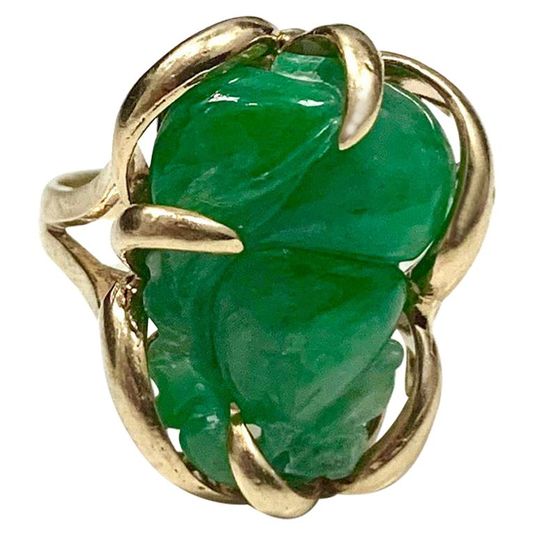 Carved Jade and Gold Ring