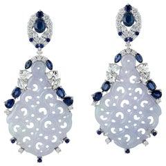 Carved Jade Blue Sapphire 18 Karat Gold Diamond Earrings