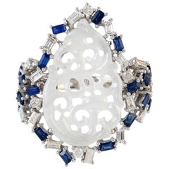 Carved Jade Blue Sapphire 18 Karat Gold Diamond Ring