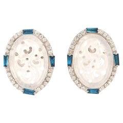 Carved Jade Diamond 18 Karat Gold Stud Earrings