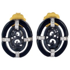 Carved Jade Diamond 18 Karat Gold Stud Earrings