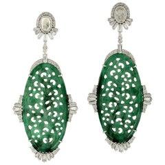 Carved Jade Diamond 18 Karat Gold Earrings