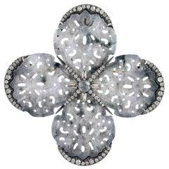 Carved Jade Diamond Brooch