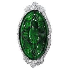 Carved Jade Diamond Eagle Pin GIA Certified