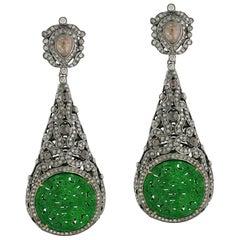 Carved Jade Diamond Earrings