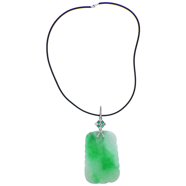 Carved Jade Diamond Emerald Gold Pendant Necklace