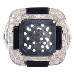 Carved Jade Diamond Ring