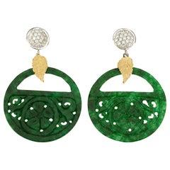 Carved Jade Diamonds 18 Karat Gold Earrings