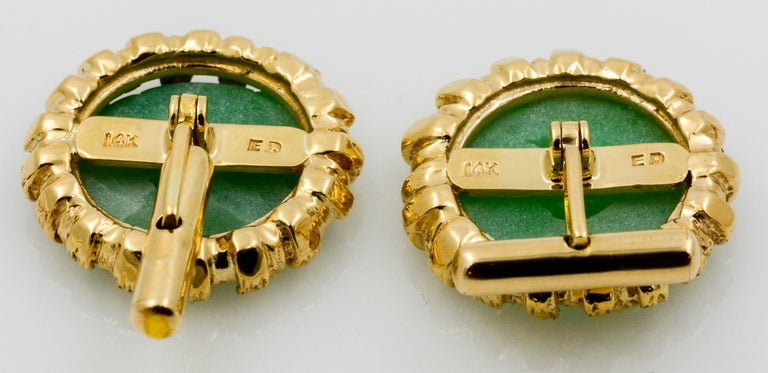Men's Carved Jade Disc Cuff Links For Sale
