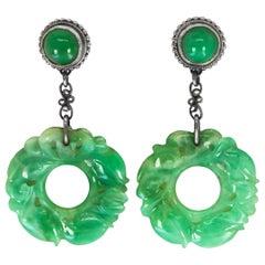 Carved Jade Earrings Silver