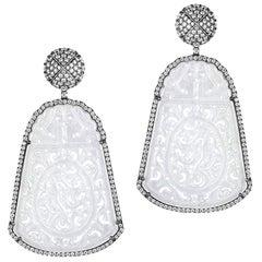 Goshwara Carved Jade And Diamond Earrings