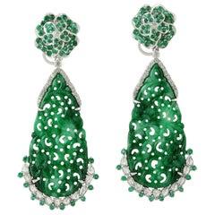 Carved Jade Emerald 18 Karat Gold Blossom Diamond Earrings