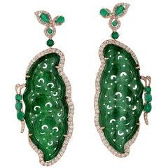 Carved Jade Emerald 18 Karat Gold Butterfly Diamond Earrings
