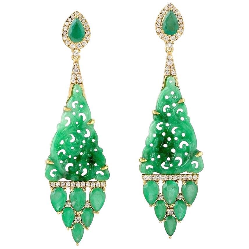 Carved Jade Emerald 18 Karat Gold Diamond Earrings