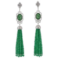 Carved Jade Emerald Diamond 18 Karat Gold Tassel Earrings