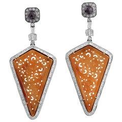 Carved Jade Fancy Diamond Earrings