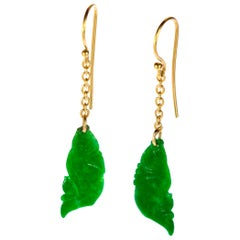 Carved Jade Fish Flower 18 Karat Yellow Gold Chain Crafted Dangle Drop Earrings