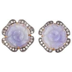 Carved Jade Floral Diamond Stud Earrings