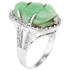 Carved Jade Frog Cocktail Ring Diamond Vintage 18 Karat White Gold Jewelry