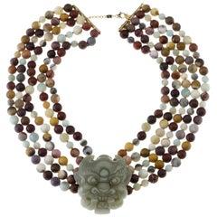 Carved Jade Fu Dog Necklace Moakite 18 Karat Gold