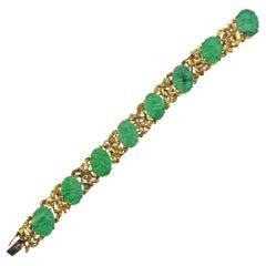 Carved Jade Gold Bracelet