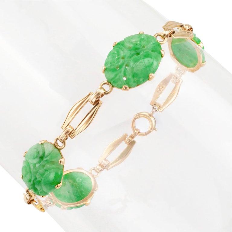 Modern Carved Jade Gold Link Bracelet For Sale