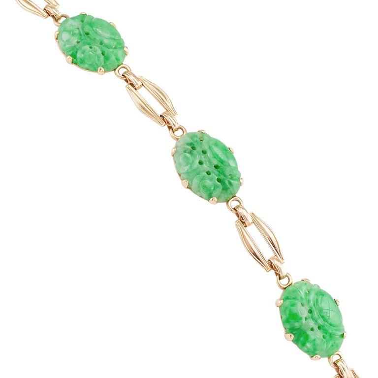 Women's Carved Jade Gold Link Bracelet For Sale