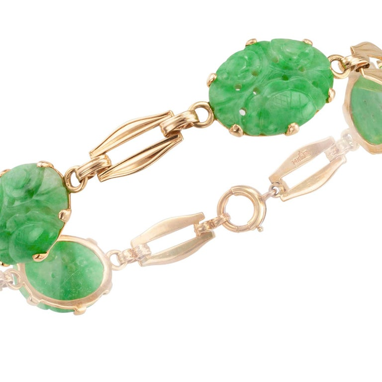 Carved Jade Gold Link Bracelet For Sale 1