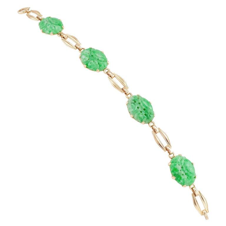 Carved Jade Gold Link Bracelet For Sale