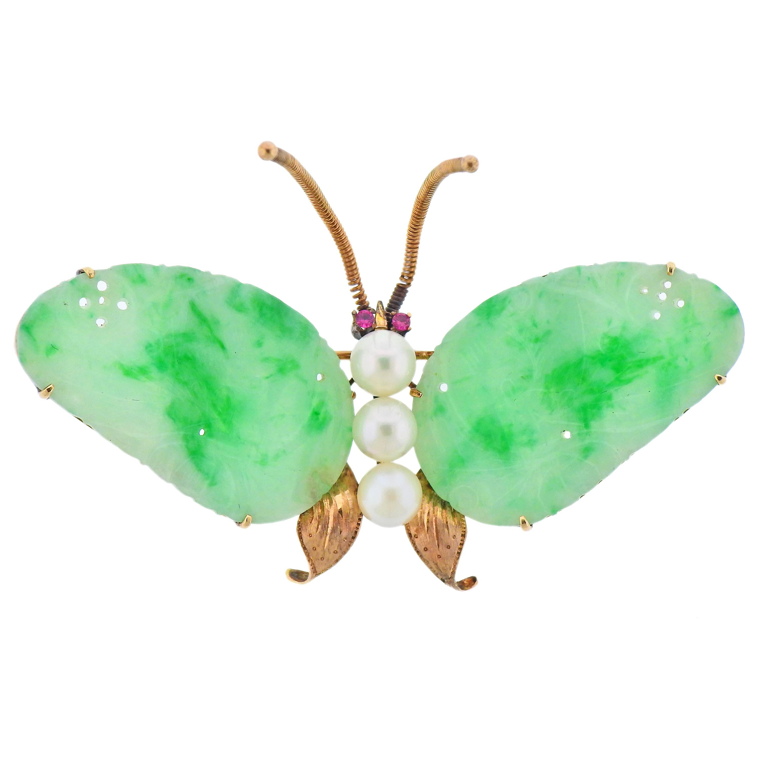 Carved Jade Pearl Ruby Gold Butterfly Brooch