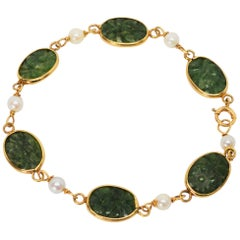 Carved Jade Pearl Yellow Gold Link Bracelet